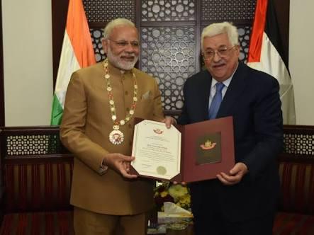 मोदी को ग्रैंड कॉलर ऑफ द स्टेट ऑफ फिलिस्तीन पुरस्कार से सम्मानित किया गया